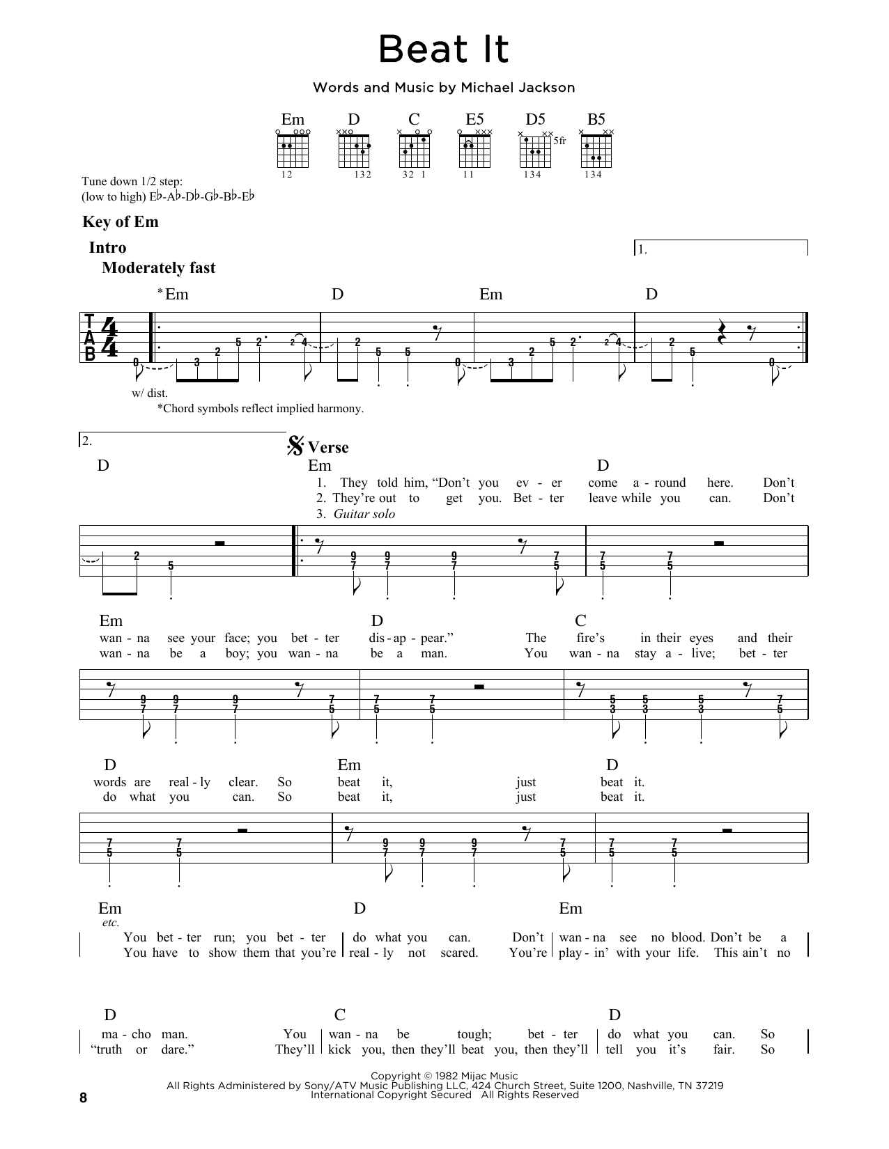 Partition autre Beat It de Michael Jackson - Tablature Guitare Lead