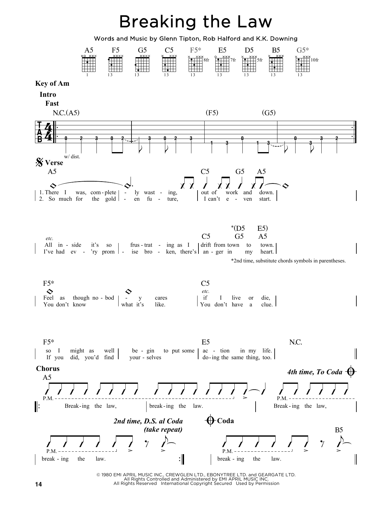 Partition autre Breaking The Law de Judas Priest - Tablature Guitare Lead