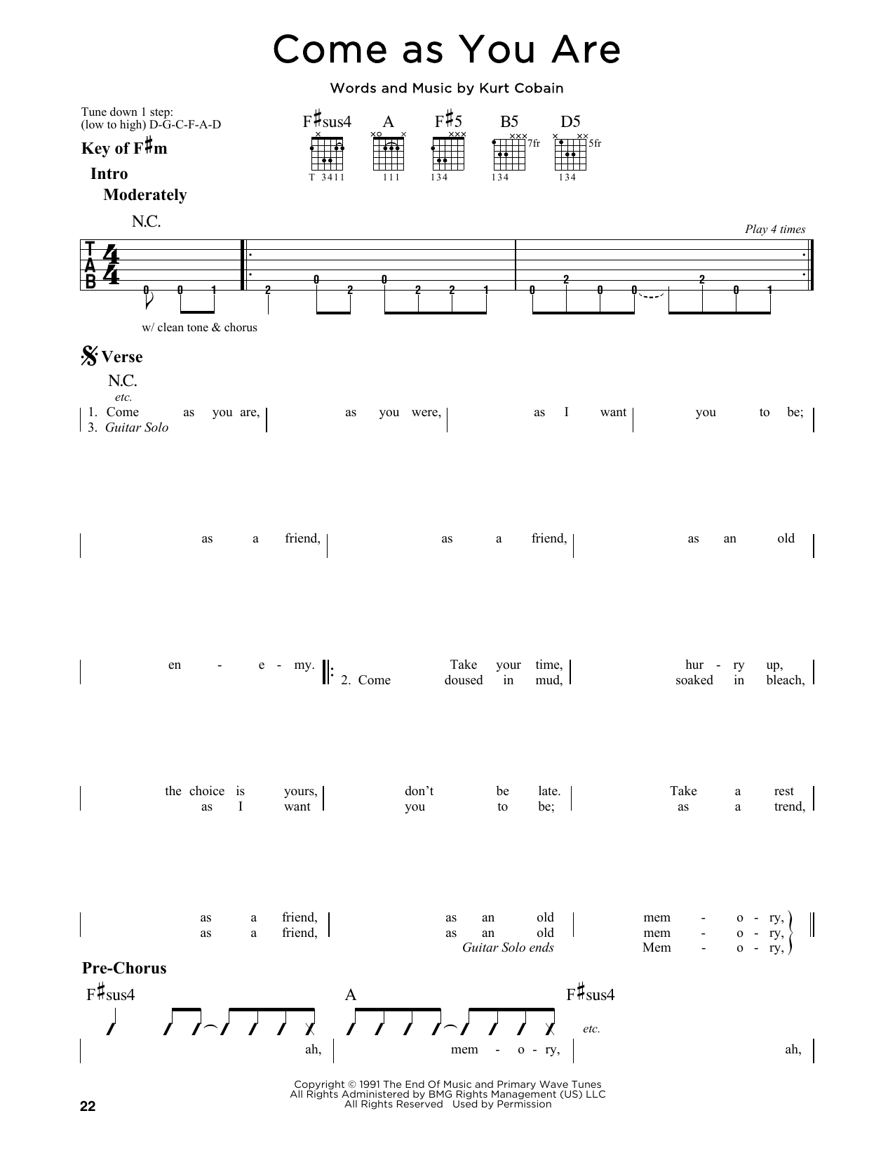 Come as you are sheet music by nirvana guitar lead sheet 164278 come as you are sheet music hexwebz Images