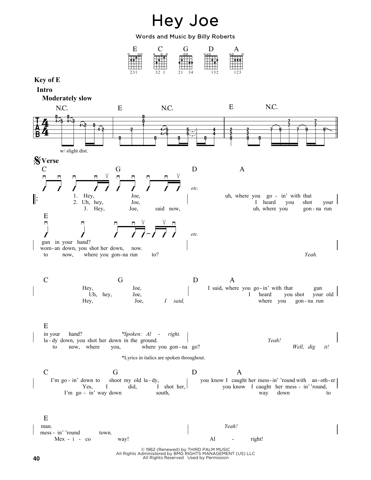 Hey Joe Sheet Music