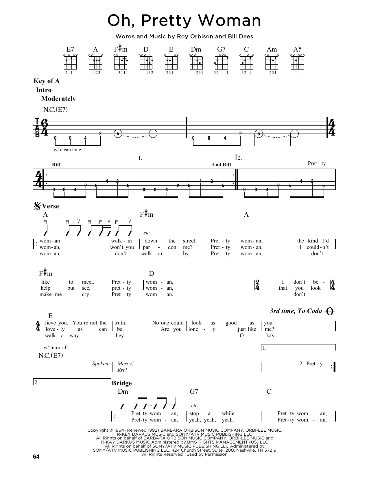 Partition autre Oh, Pretty Woman de Roy Orbison - Tablature Guitare Lead