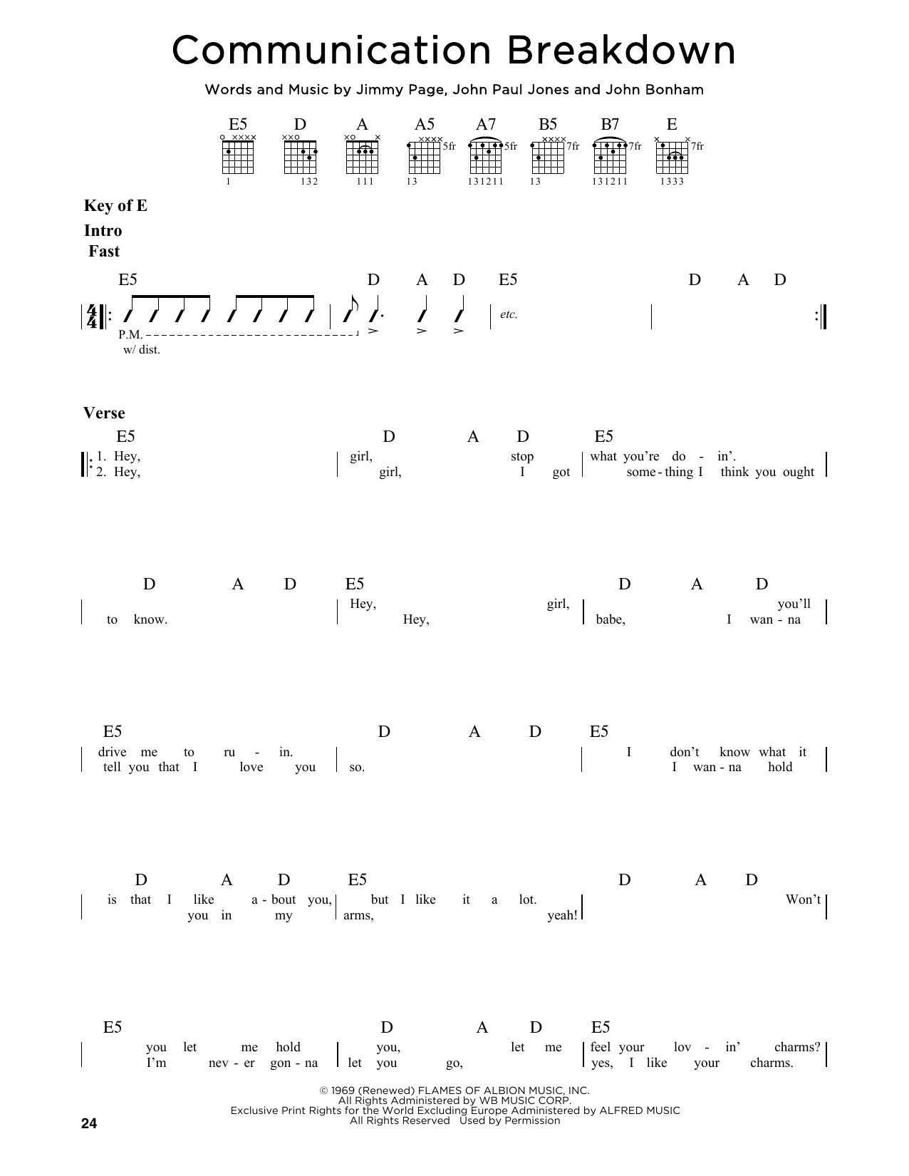 Communication Breakdown Sheet Music