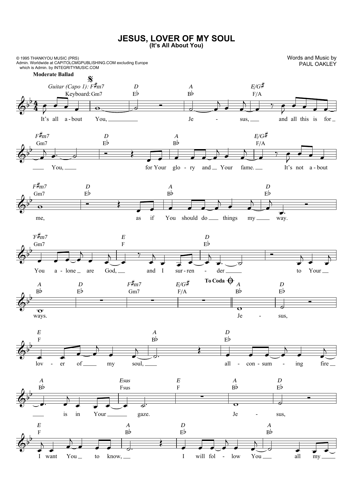 Jesus, Lover Of My Soul (It's All About You) (Lead Sheet / Fake Book)