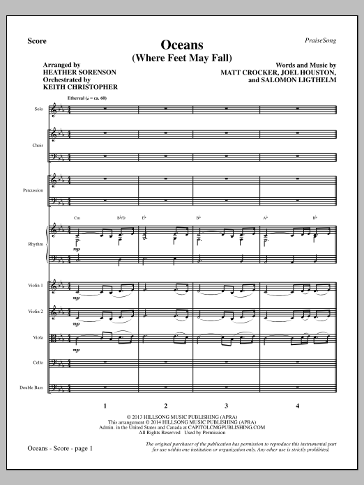 Oceans (Where Feet May Fail) - Full Score Sheet Music