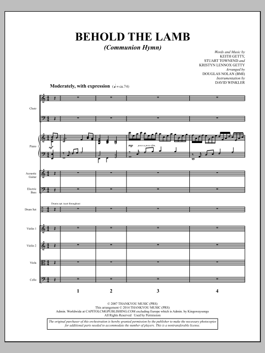Behold the Lamb (Communion Hymn) - Full Score Sheet Music