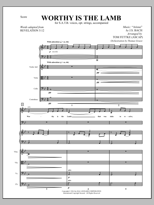 Worthy Is the Lamb (COMPLETE) sheet music for orchestra/band by Tom Fettke and Johann Sebastian Bach. Score Image Preview.