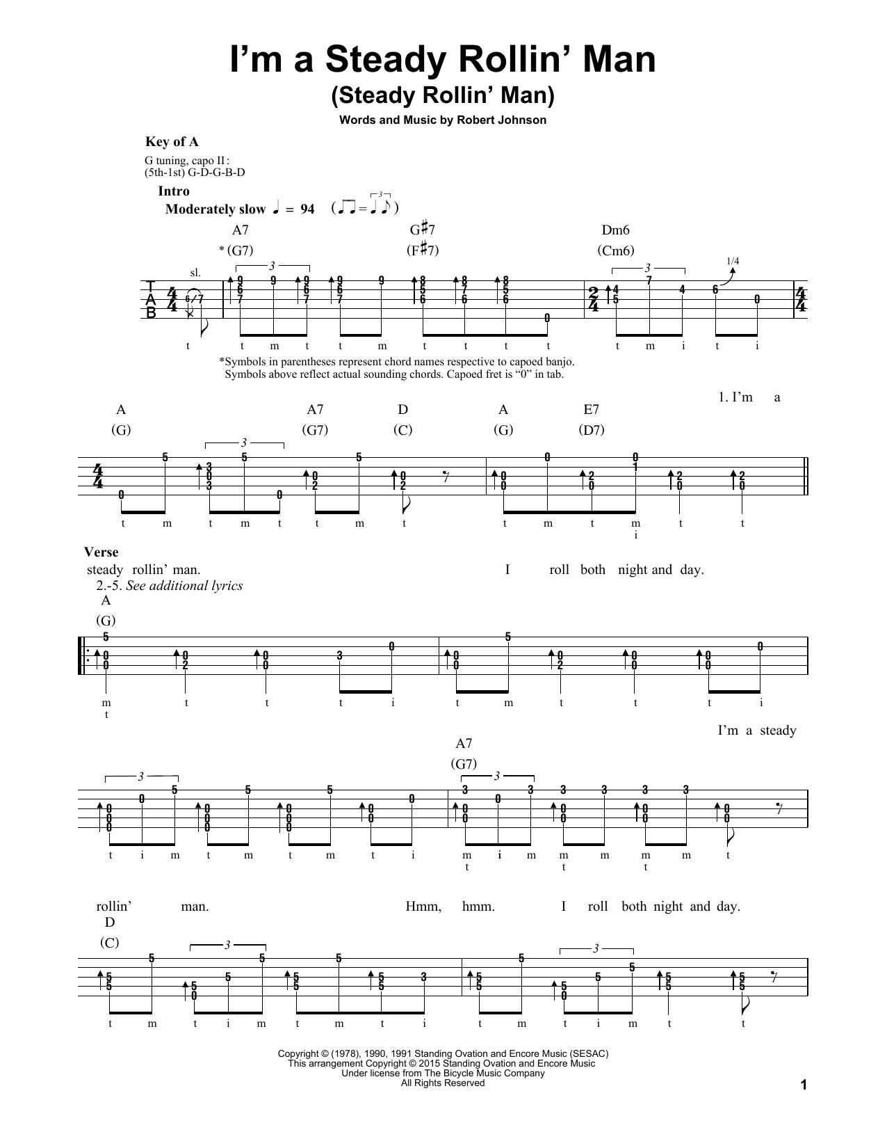 I'm A Steady Rollin' Man (Steady Rollin' Man) (Banjo Tab)