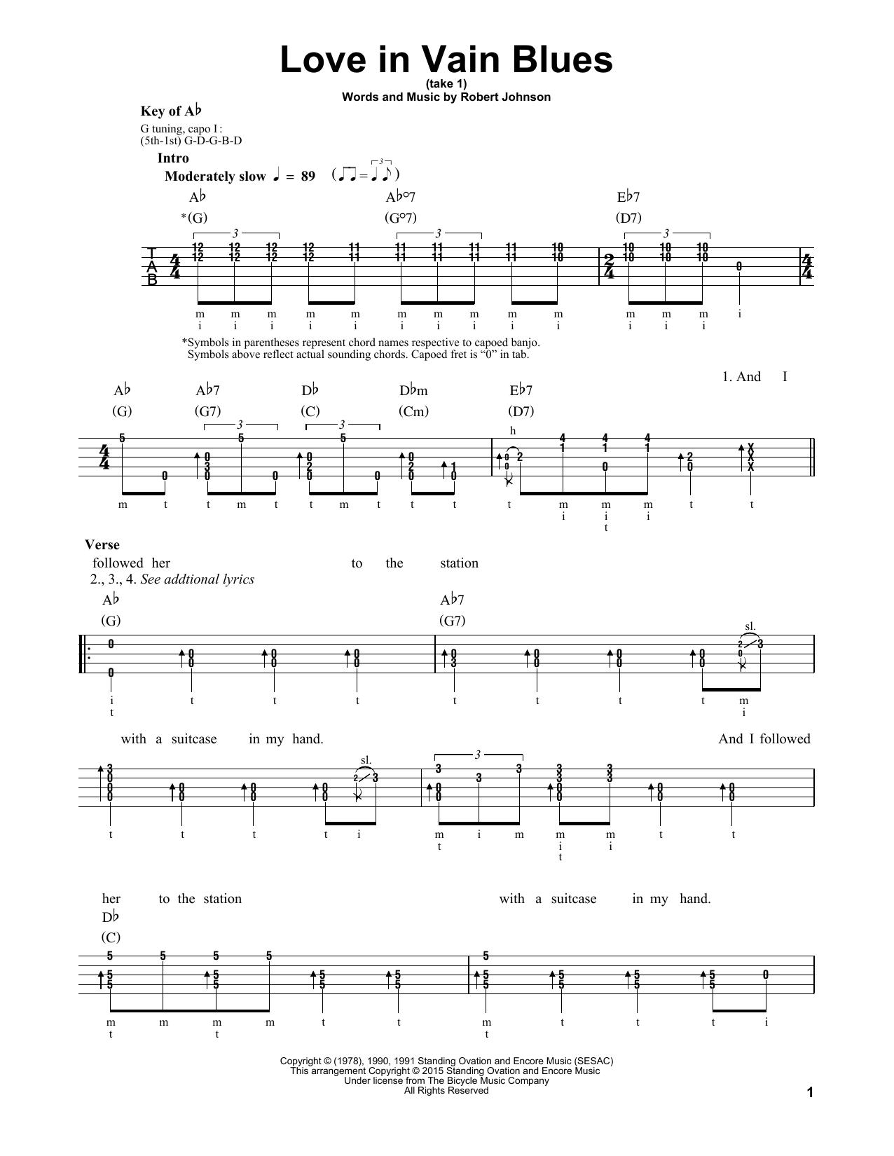 Love In Vain Blues Sheet Music