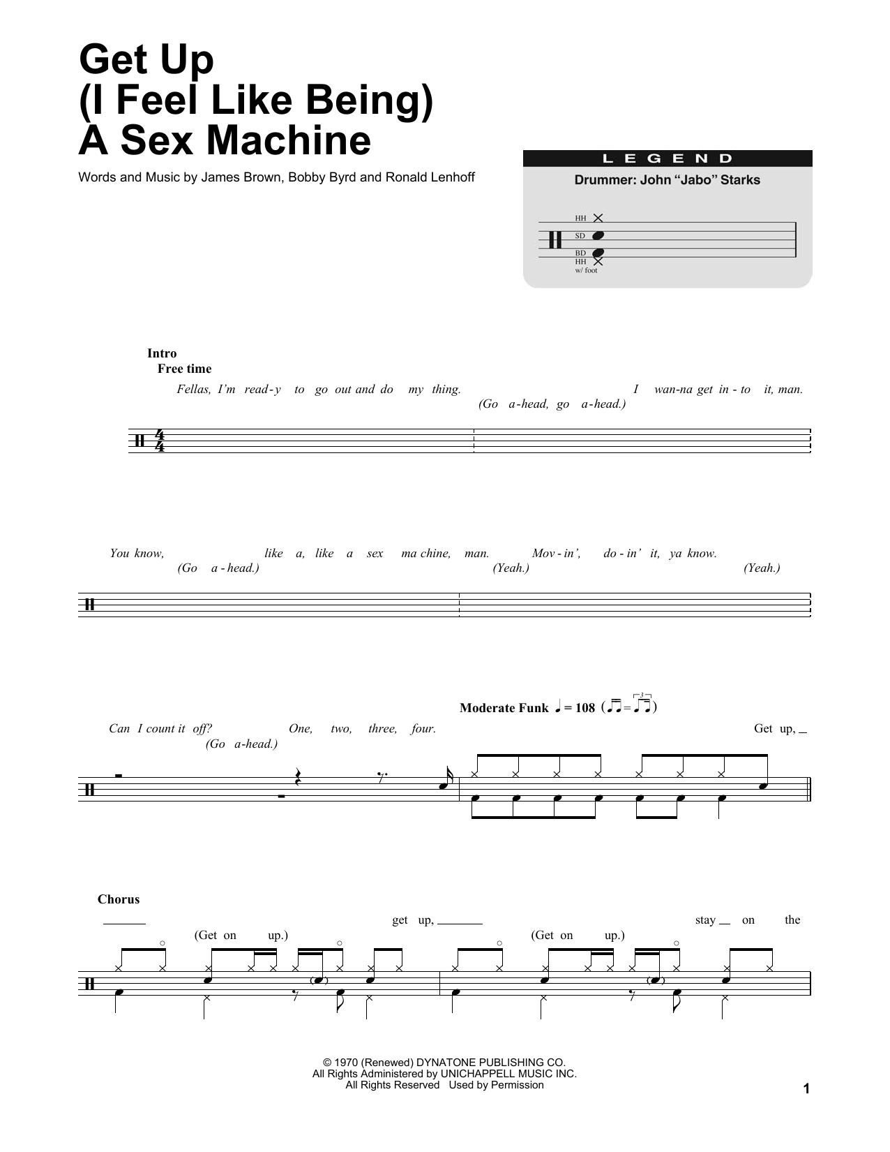 Get Up (I Feel Like Being A Sex Machine) Sheet Music