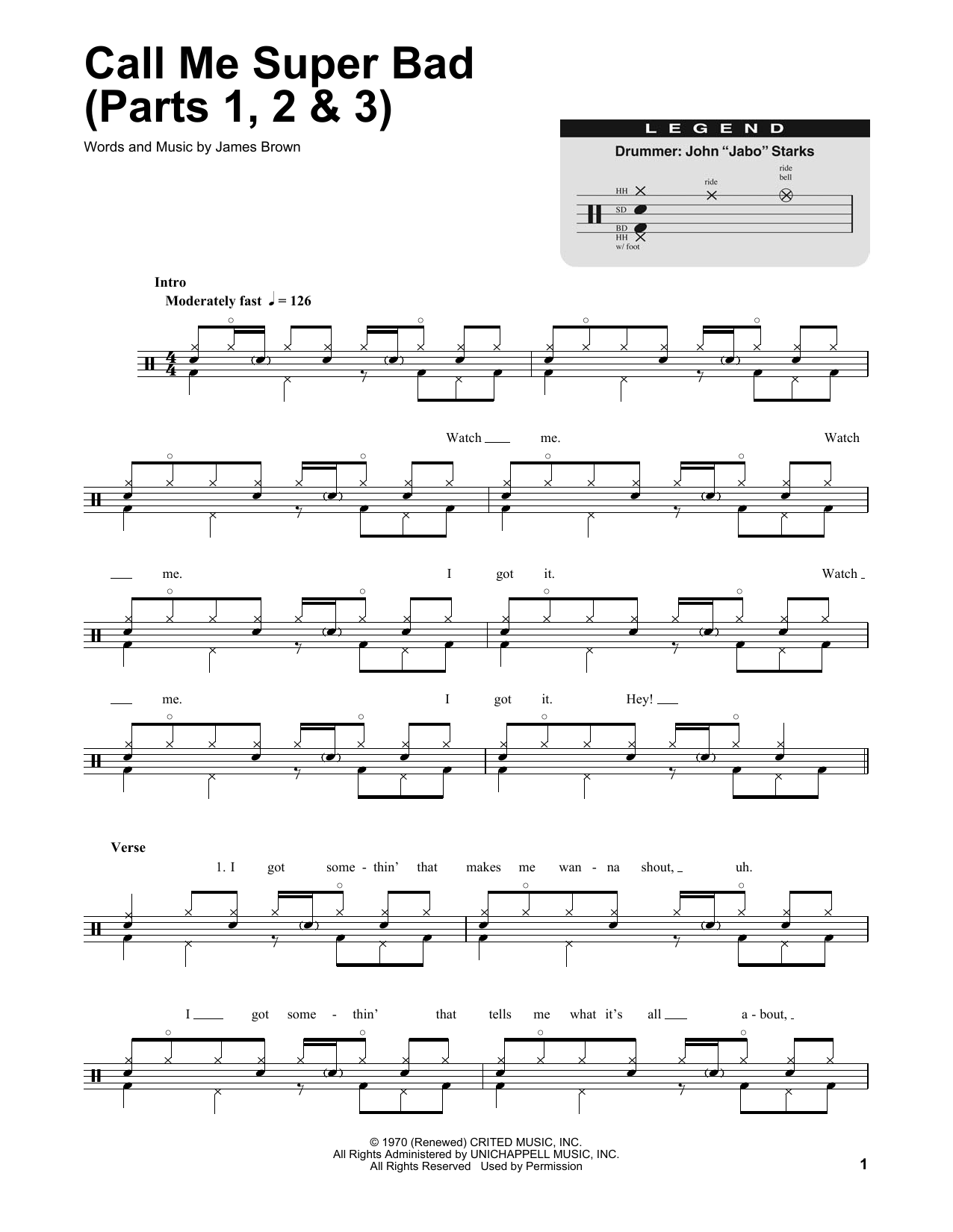 Call Me Super Bad (Parts 1, 2 & 3) (Drums Transcription)