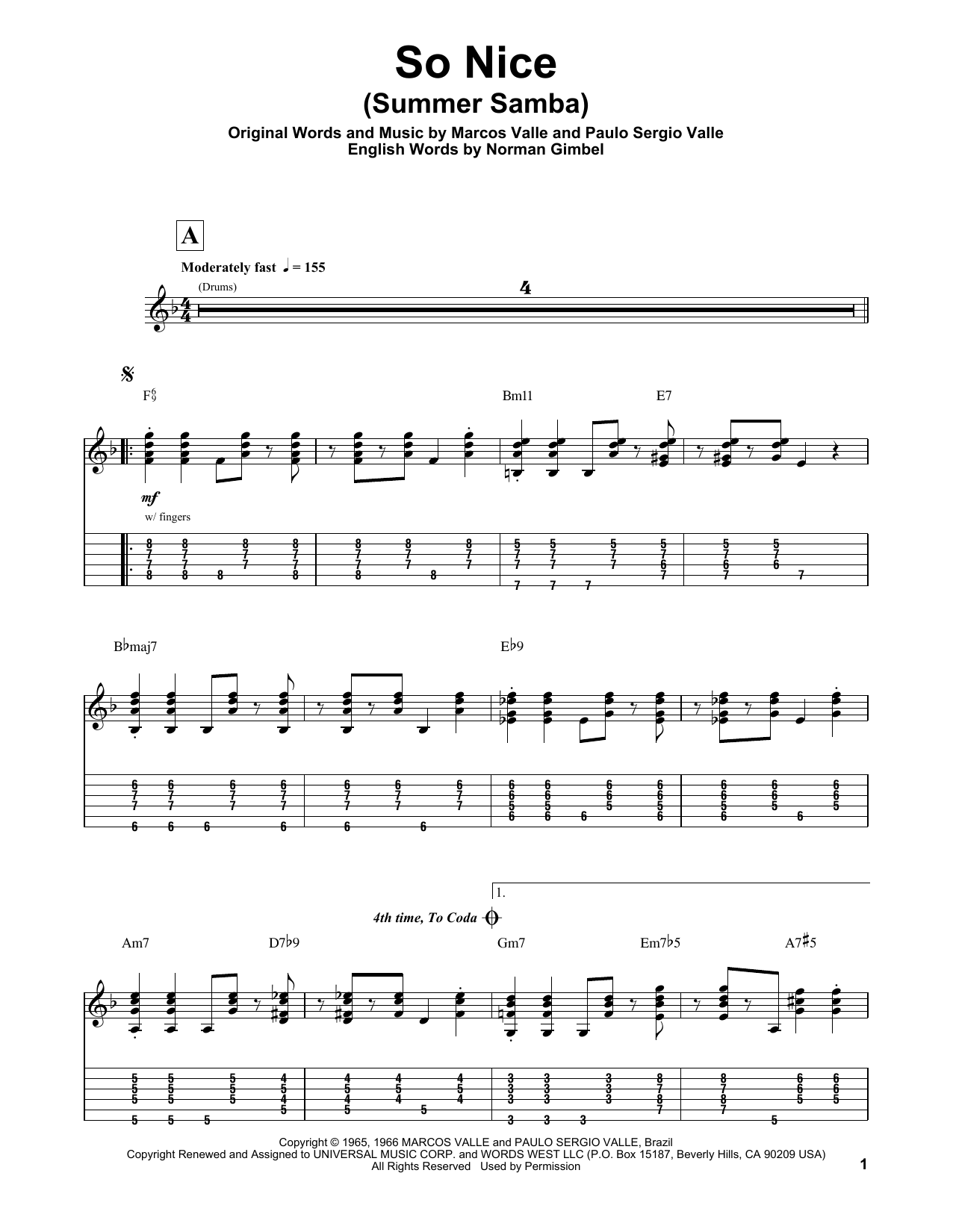 Tablature guitare So Nice (Summer Samba) de Marcos Valle - Autre