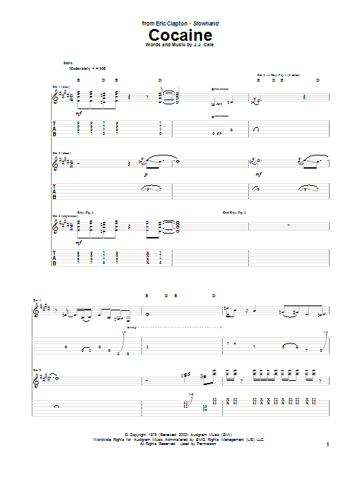 Cocaine Sheet Music