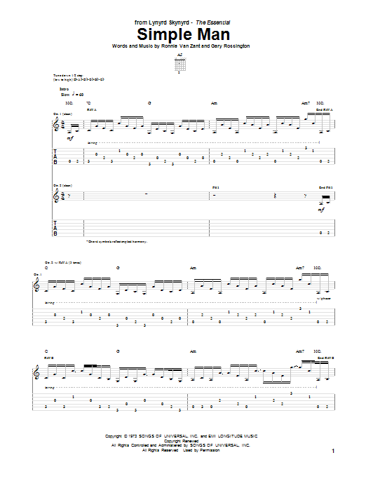 Tablature guitare Simple Man de Lynyrd Skynyrd - Tablature Guitare
