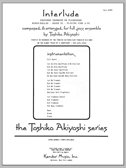 Interlude (COMPLETE) sheet music for jazz band by Toshiko Akiyoshi. Score Image Preview.