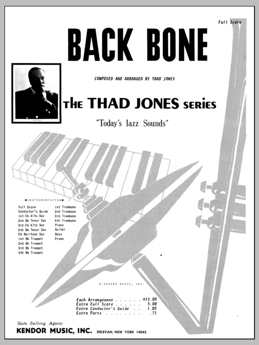 Back Bone (COMPLETE) sheet music for jazz band by Thad Jones. Score Image Preview.