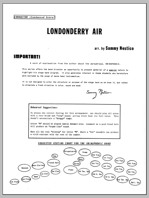Londonderry Air (COMPLETE) sheet music for jazz band by Sammy Nestico. Score Image Preview.