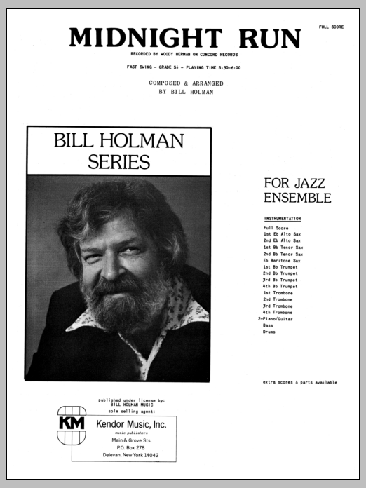 Midnight Run (COMPLETE) sheet music for jazz band by Bill Holman. Score Image Preview.