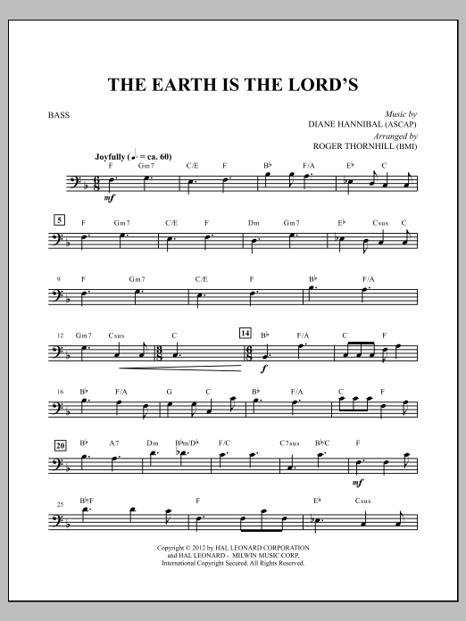 The Earth Is the Lord's - Bass Sheet Music