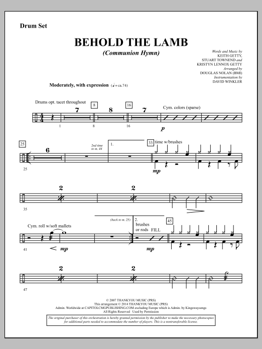 Behold the Lamb (Communion Hymn) - Drums Sheet Music