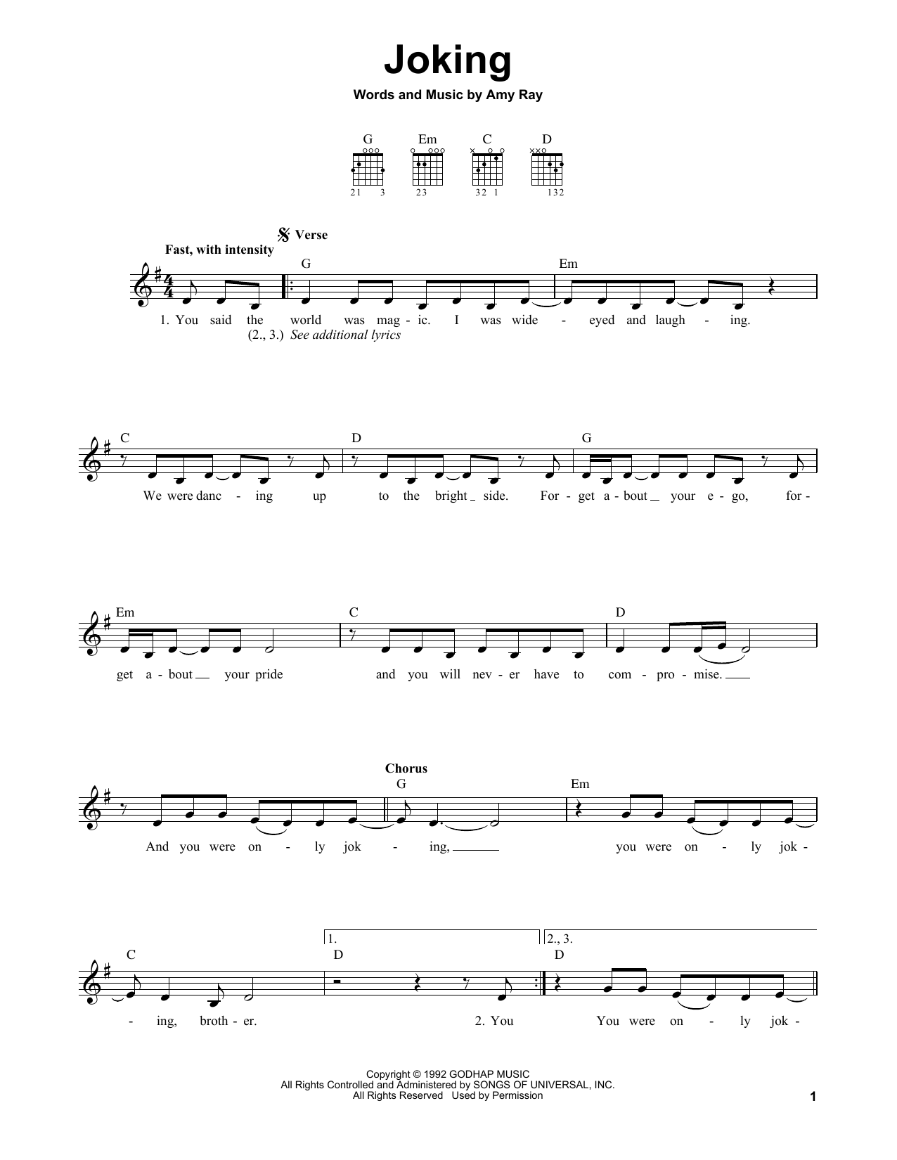 Tablature guitare Joking de Indigo Girls - Tablature guitare facile