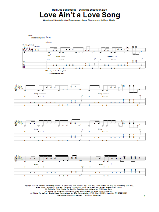 Tablature guitare Love Ain't A Love Song de Joe Bonamassa - Tablature Guitare