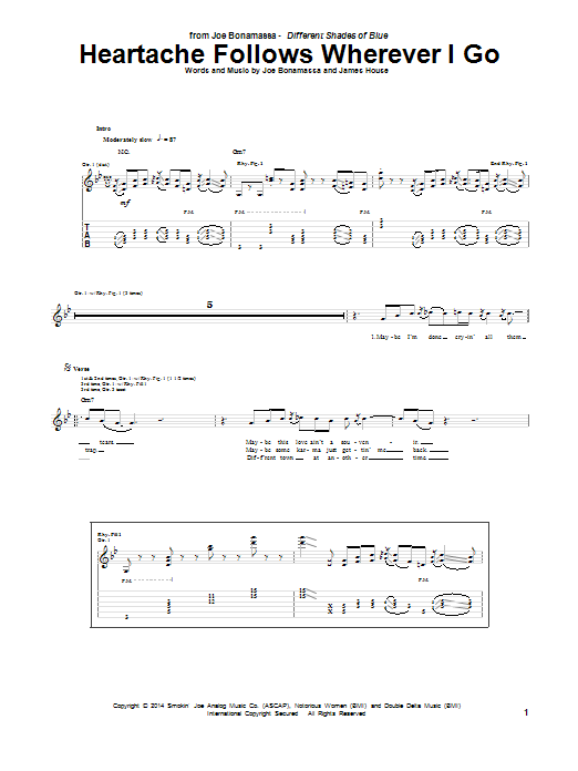 Heartache Follows Wherever I Go (Guitar Tab)