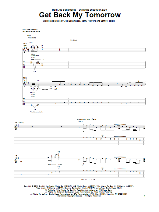 Get Back My Tomorrow Joe Bonamassa Guitar Tab
