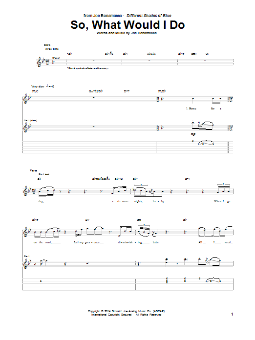 Tablature guitare So, What Would I Do de Joe Bonamassa - Tablature Guitare