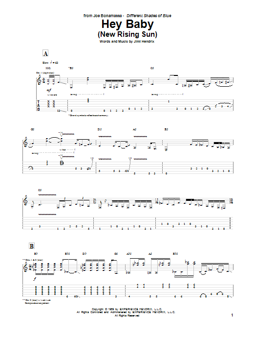 Tablature guitare Hey Baby (New Rising Sun) de Joe Bonamassa - Tablature Guitare