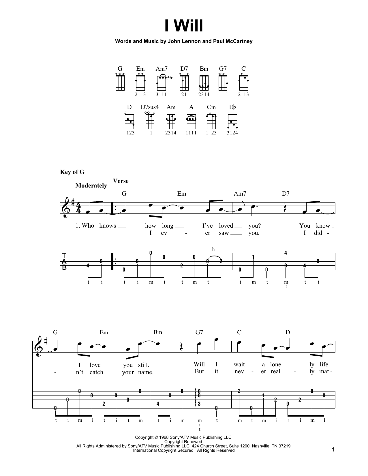 I Will (Banjo Tab)