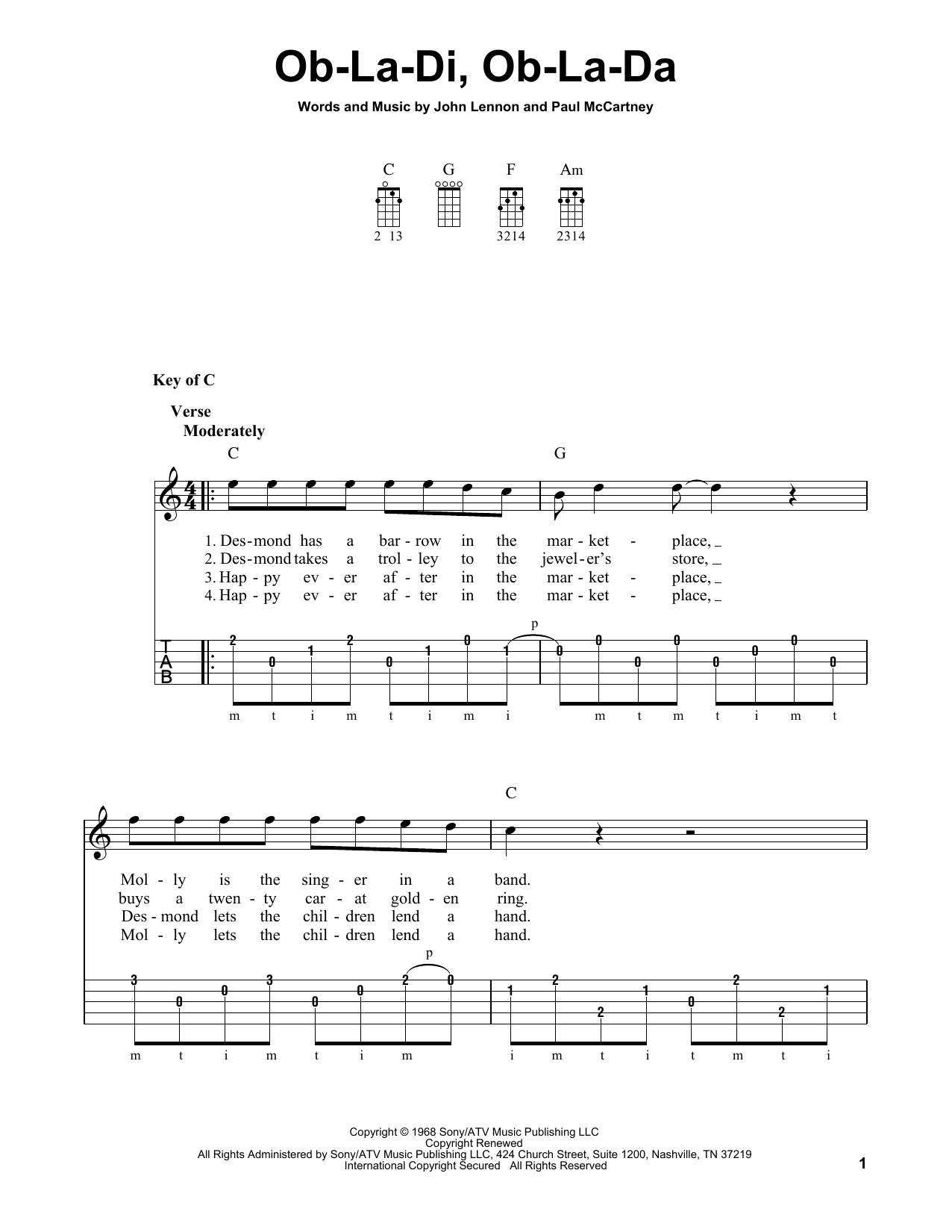 Ob-La-Di, Ob-La-Da (Banjo Tab)