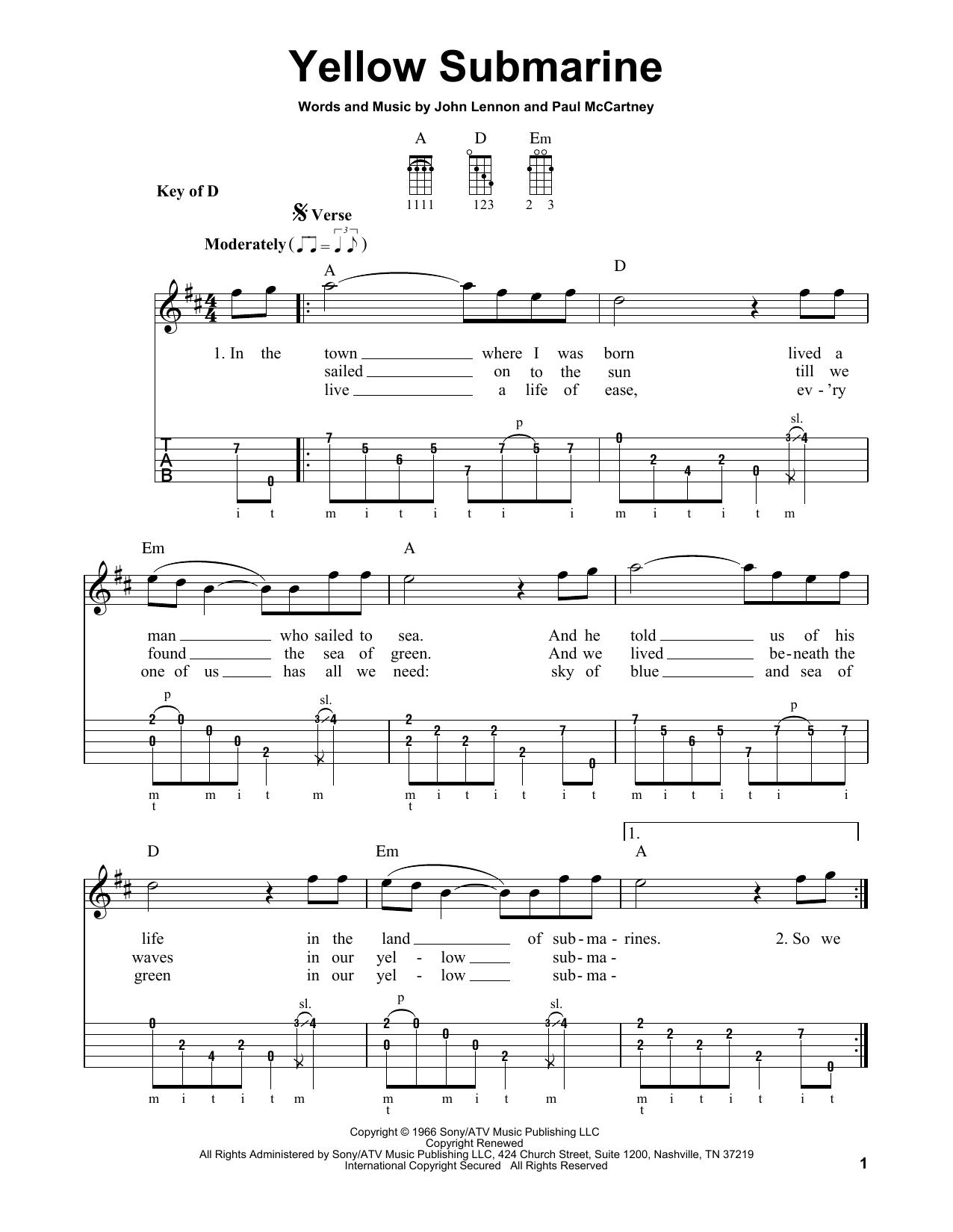 Yellow Submarine (Banjo Tab)