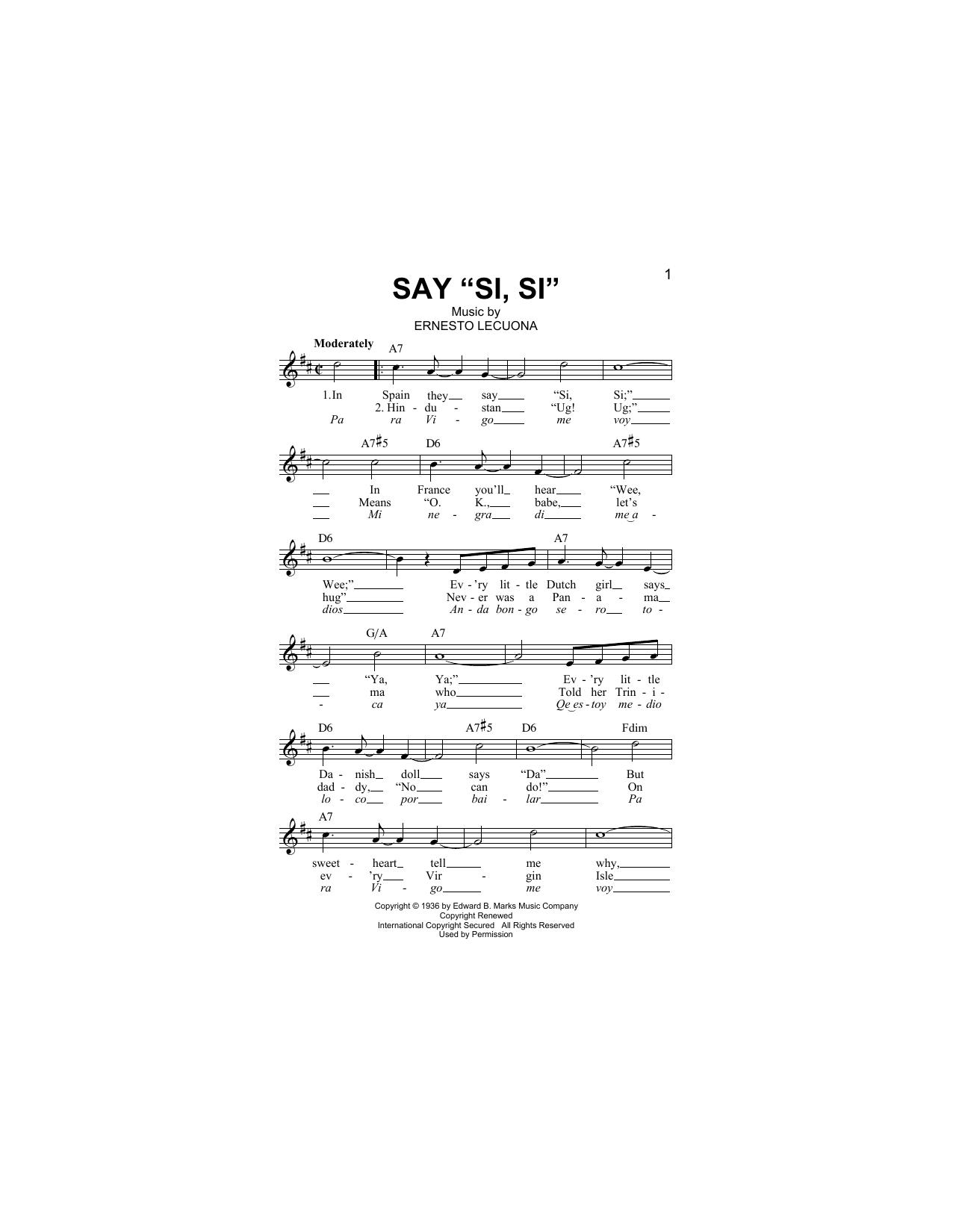 Say Si Si (Lead Sheet / Fake Book)