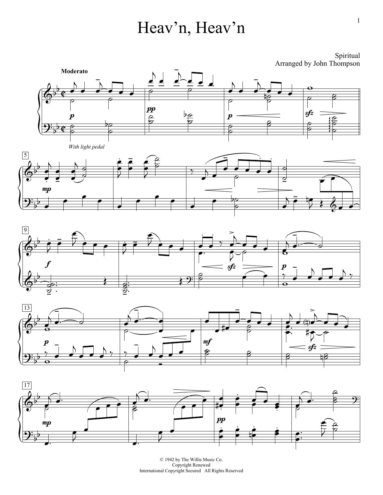 Partition piano Heav'n, Heav'n de John Thompson - Autre