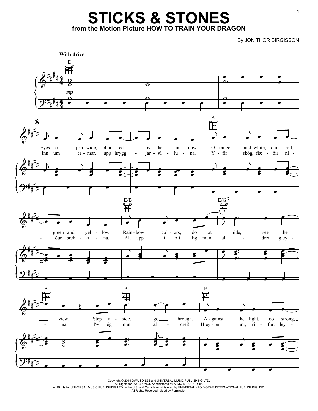 Sticks & Stones Sheet Music
