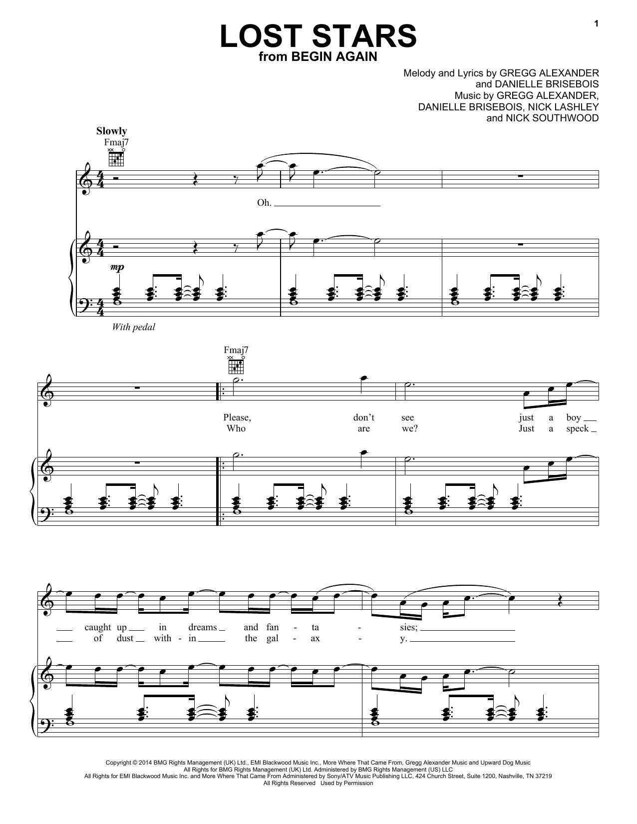Lost Stars Sheet Music
