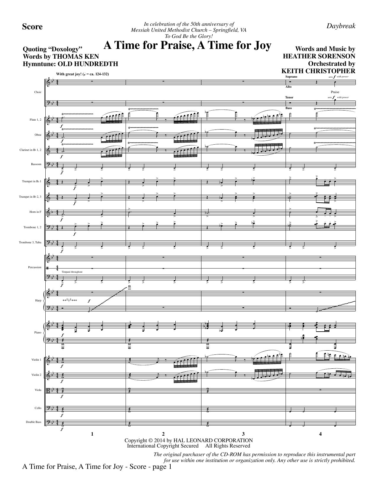 A Time for Praise, A Time for Joy (COMPLETE) sheet music for orchestra/band by Heather Sorenson, Louis Bourgeois and Thomas Ken. Score Image Preview.