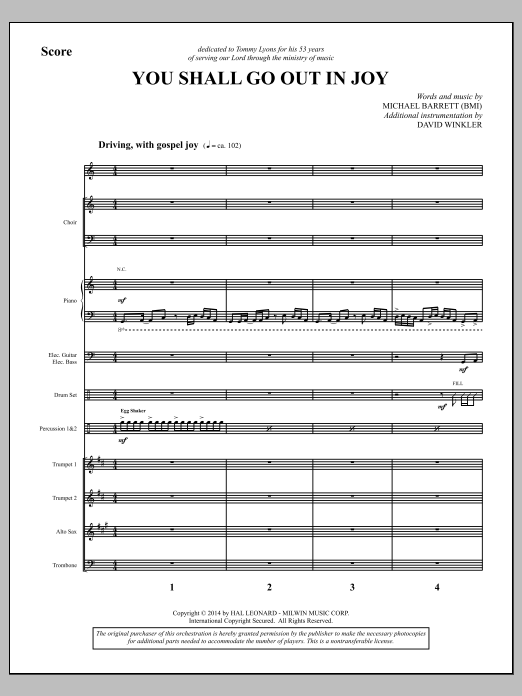 You Shall Go Out in Joy (COMPLETE) sheet music for orchestra/band by Michael Barrett. Score Image Preview.