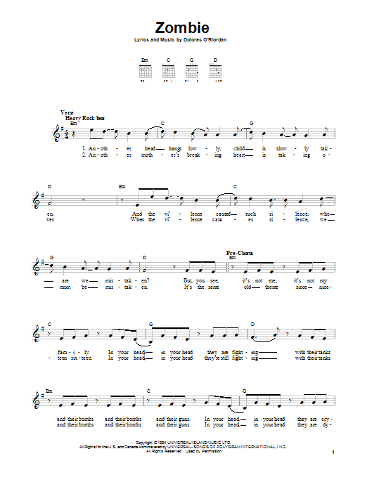 Guitar guitar chords zombie cranberries : Zombie sheet music by The Cranberries (Easy Guitar – 157398)