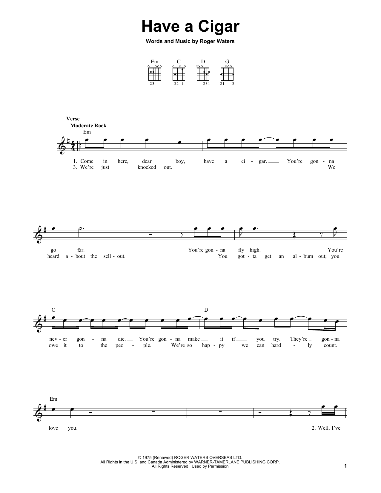 Tablature guitare Have A Cigar de Pink Floyd - Tablature guitare facile