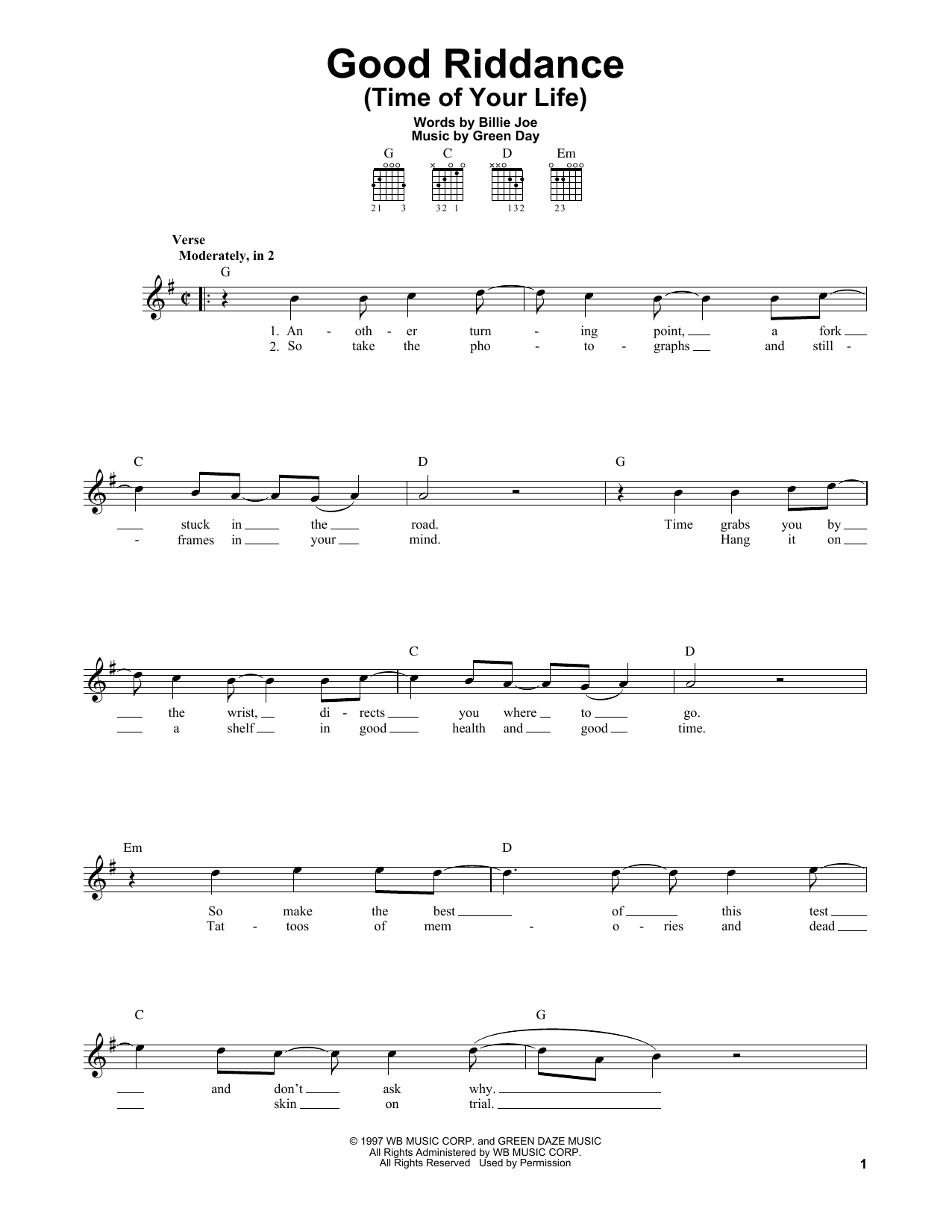 Tablature guitare Good Riddance (Time Of Your Life) de Green Day - Tablature guitare facile