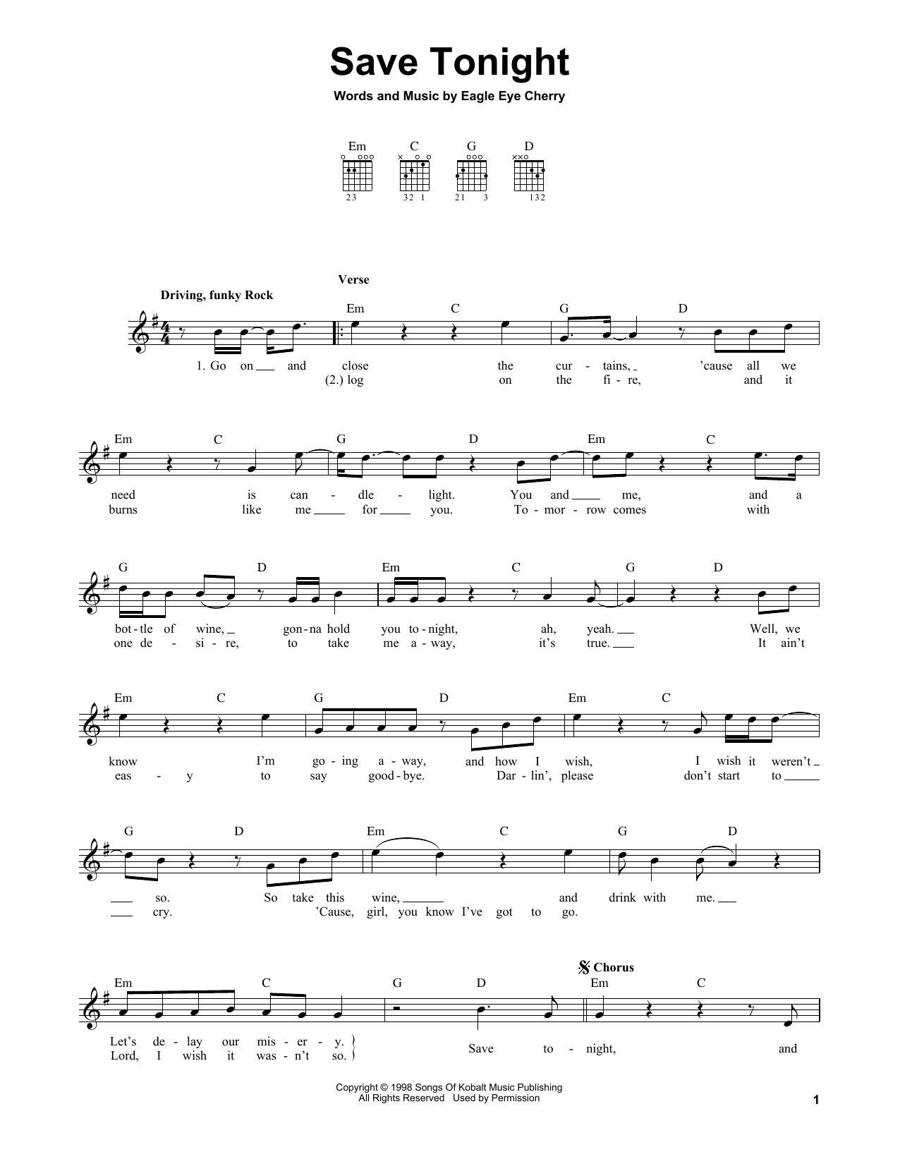 Save Tonight Sheet Music