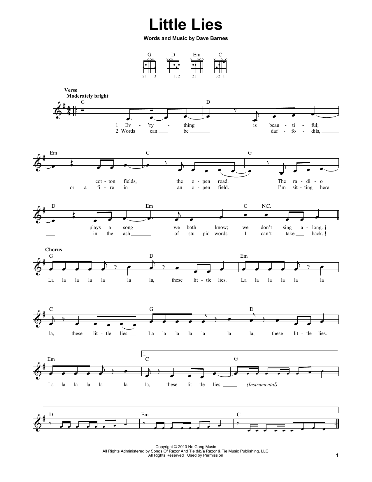Tablature guitare Little Lies de Dave Barnes - Tablature guitare facile