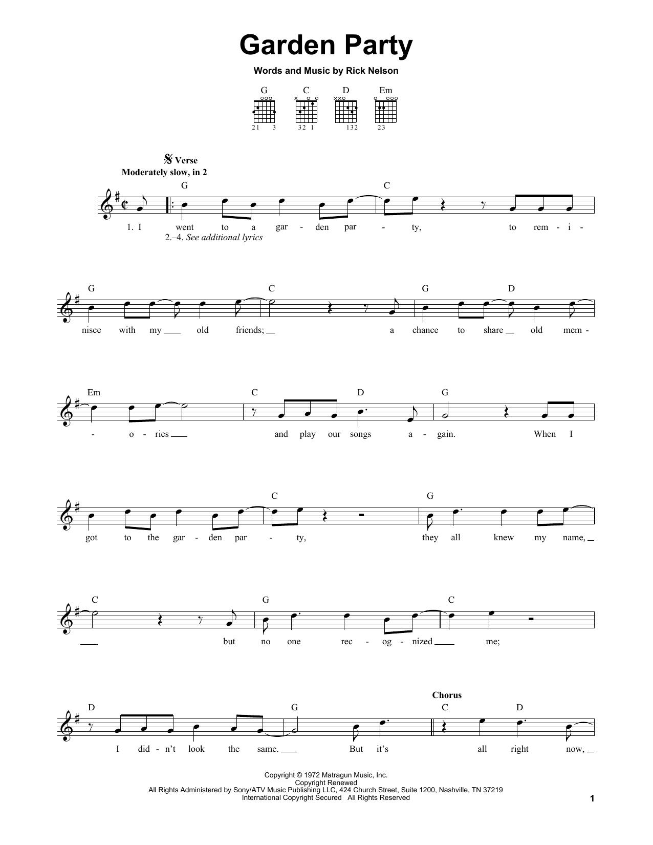 Tablature guitare Garden Party de Ricky Nelson - Tablature guitare facile