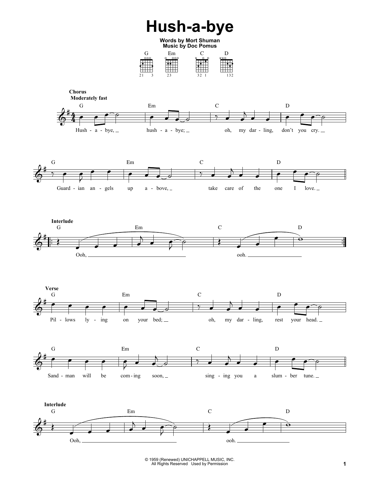 Tablature guitare Hush-a-bye de Mystics - Tablature guitare facile