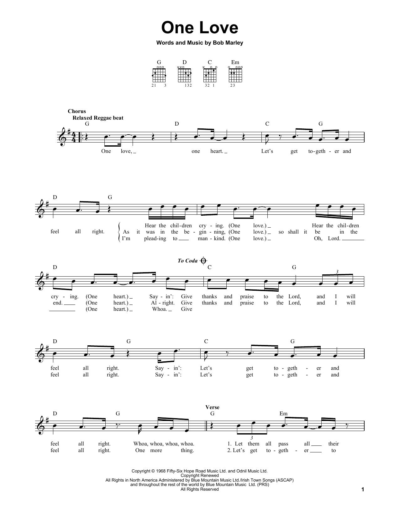 Tablature guitare One Love de Bob Marley - Tablature guitare facile