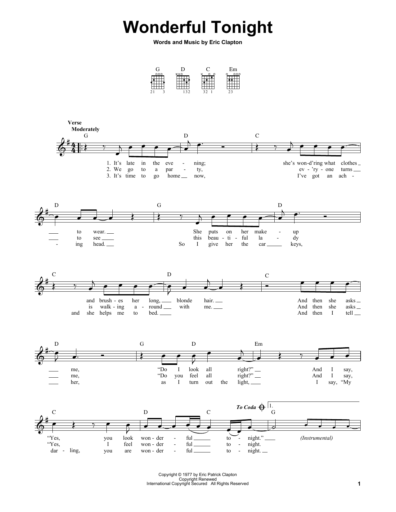 Tablature guitare Wonderful Tonight de Eric Clapton - Tablature guitare facile
