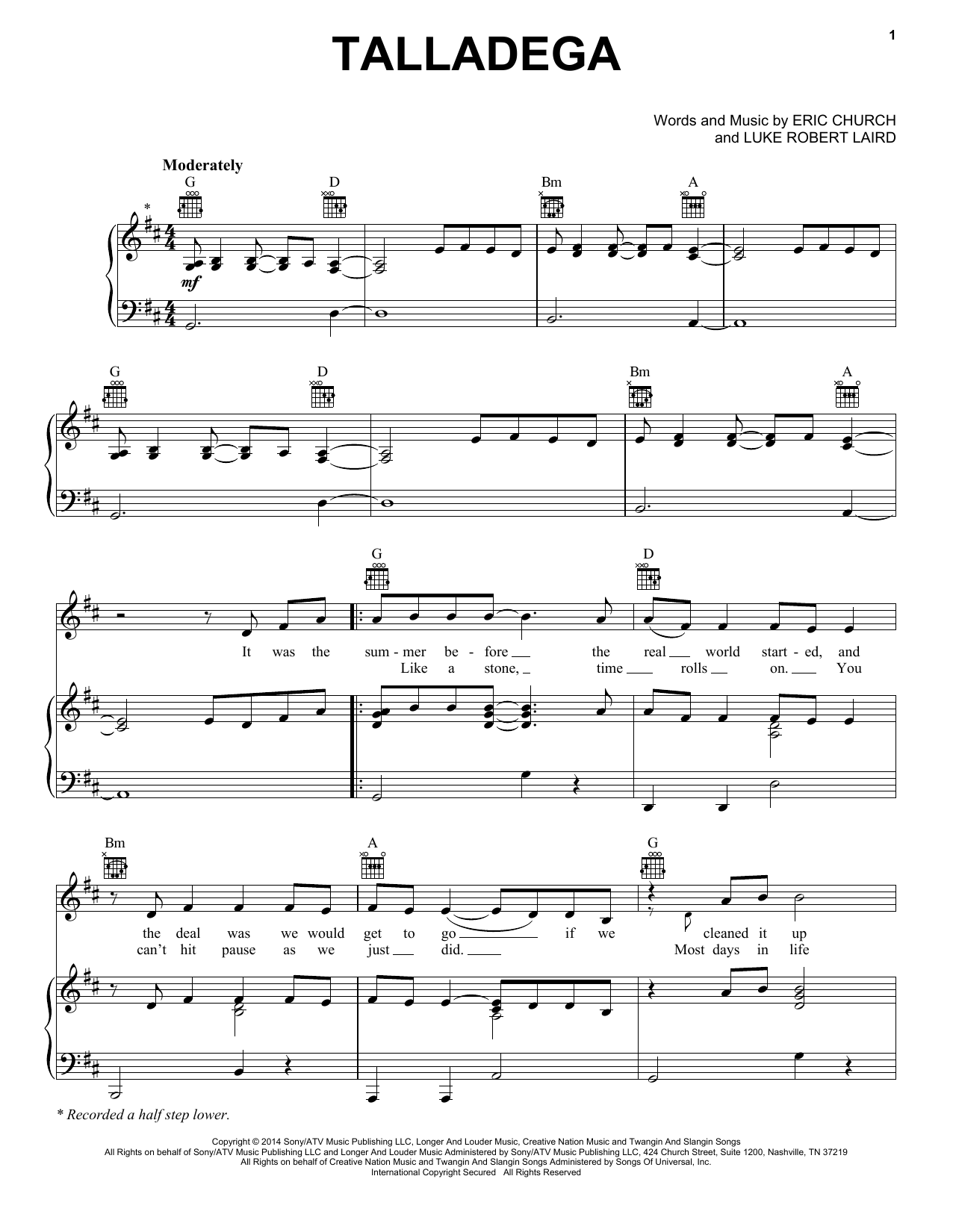 Talladega Sheet Music