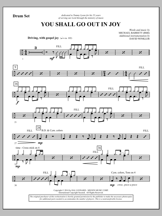 You Shall Go Out in Joy - Drums (Choir Instrumental Pak)