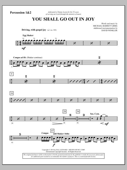 You Shall Go Out in Joy - Percussion 1 & 2 (Choir Instrumental Pak)
